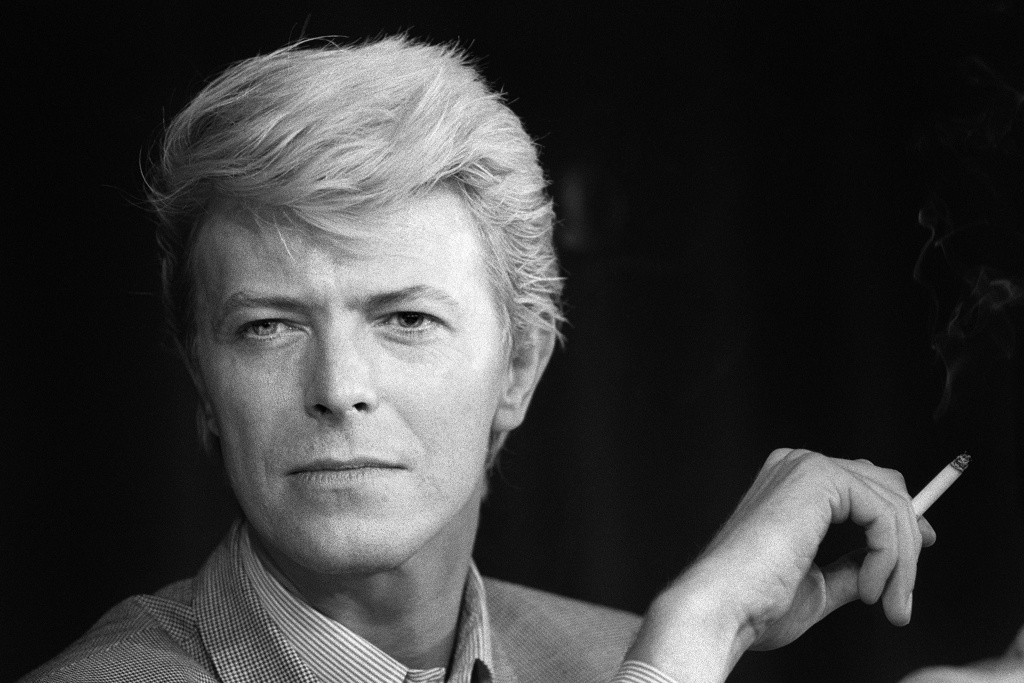 A portrait taken in 1983 shows British singer David Bowie during a press conference at the 36th Cannes Film Festival.