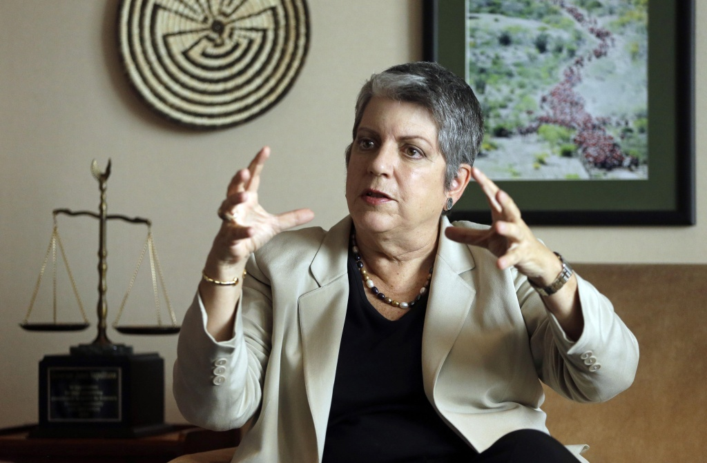 University of California President Janet Napolitano gestures while speaking during an interview in Oakland, California.