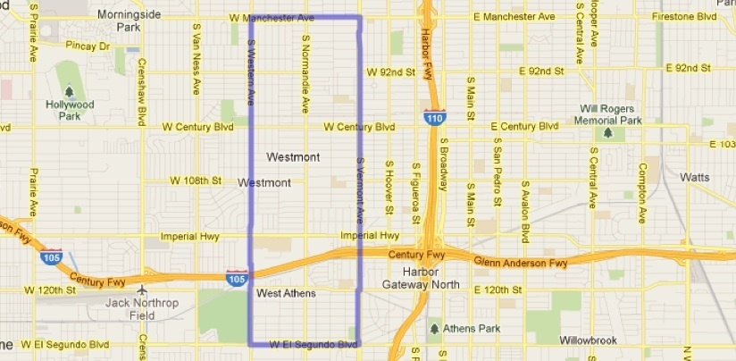 This is the area LA Sheriff's deputies in the South LA Station have been adding extra evening patrols in response to a rash of gang-related shootings that happened over the Preisdent's Day holiday weekend.