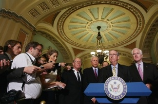 Sen. Mitch McConnell (R-KY) speaks during a press conference by Republican senators on a balanced budget amendment at the U.S. Capitol June 29, 2011 in Washington, DC.