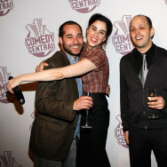 "File: (L-R) ""The Sarah Silverman Program"" writer Harris Wittels, comedian Sarah Silverman, executive producer/head writer Dan Sterling and actress Laura Silverman, arrive at Comedy Central's Emmy Awards party at the STK restaurant Sept. 21, 2008 in Los Angeles."