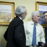 House Rules Committee Chairman Rep. Pete Sessions (C) (R-TX) speaks with an aide during a House Rules Committee meeting to set the rules for debate and amendments on the American Health Care Act.