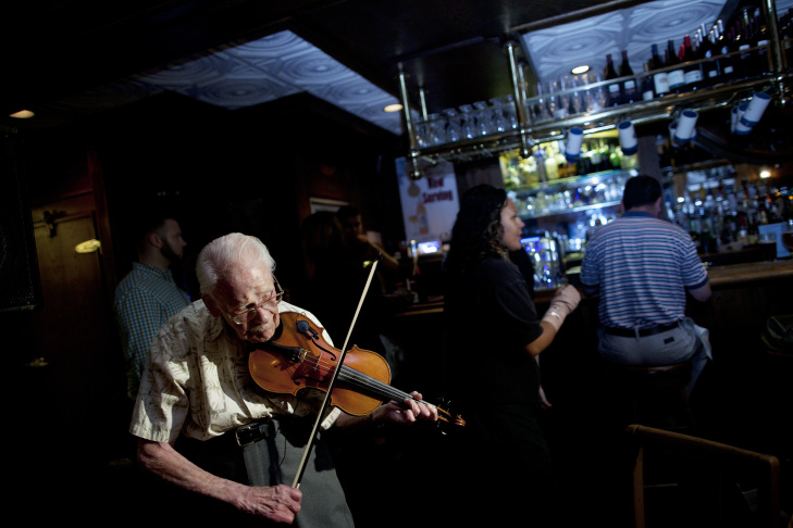 Harry Hall celebrated his 101st birthday with a performance at The Whale & Ale, where he has been playing every Friday since 1995.