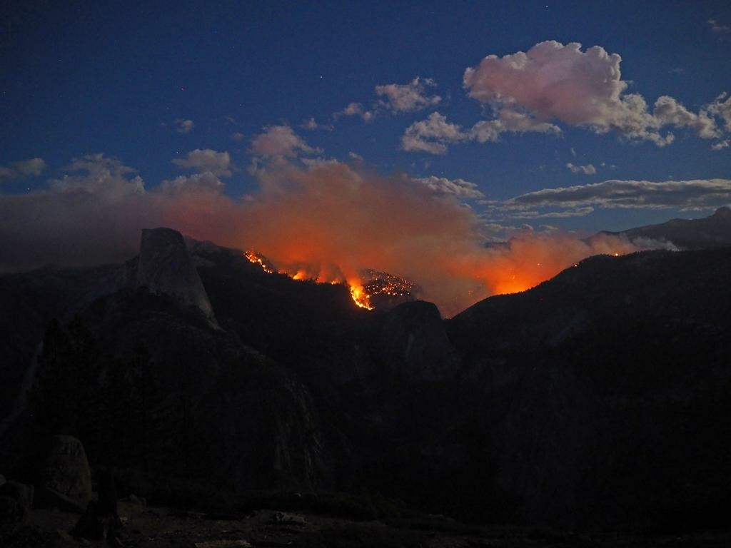 A photo shared by Yosemite National Park shows the Meadow Fire burning in the Little Yosemite Valley area, a popular tourist destination.