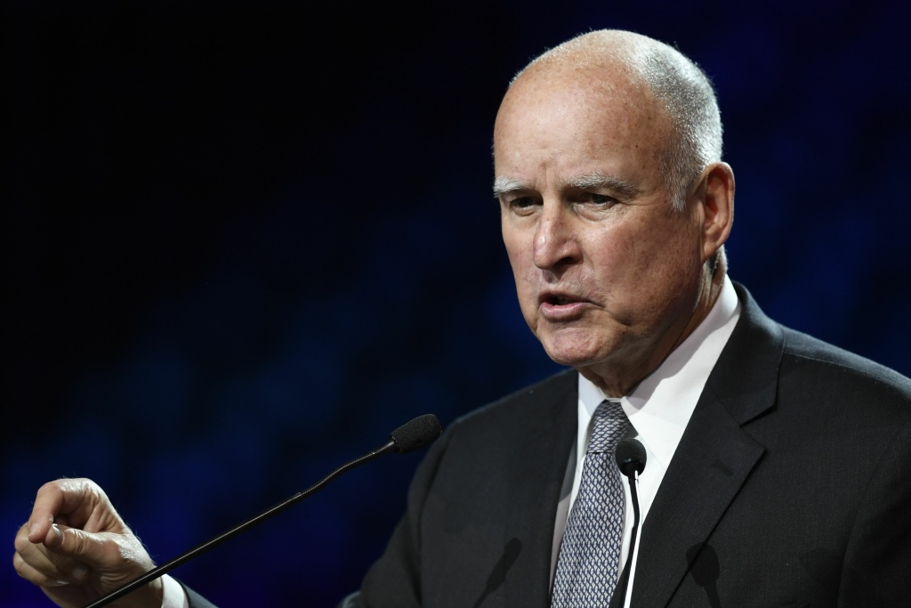 California Governor Jerry Brown speaks during a conference at the One Planet Summit on December 12, 2017 in Boulogne-Billancourt, France.