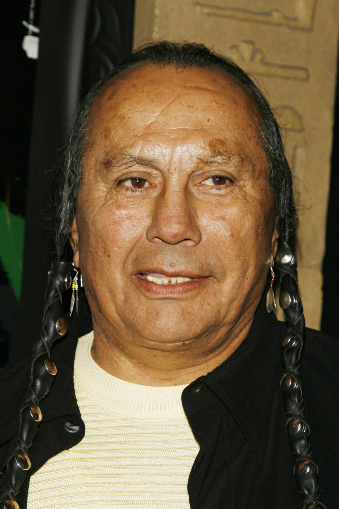 "Russell Means arrives at the premiere screening of Turner Classic Movies ""Brando"" at the Egyptian Theater on April 17, 2007 in Los Angeles, California."