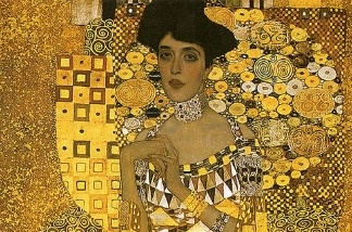 A detail of Gustav Klimt's 'Portrait of Adele Bloch-Bauer.'