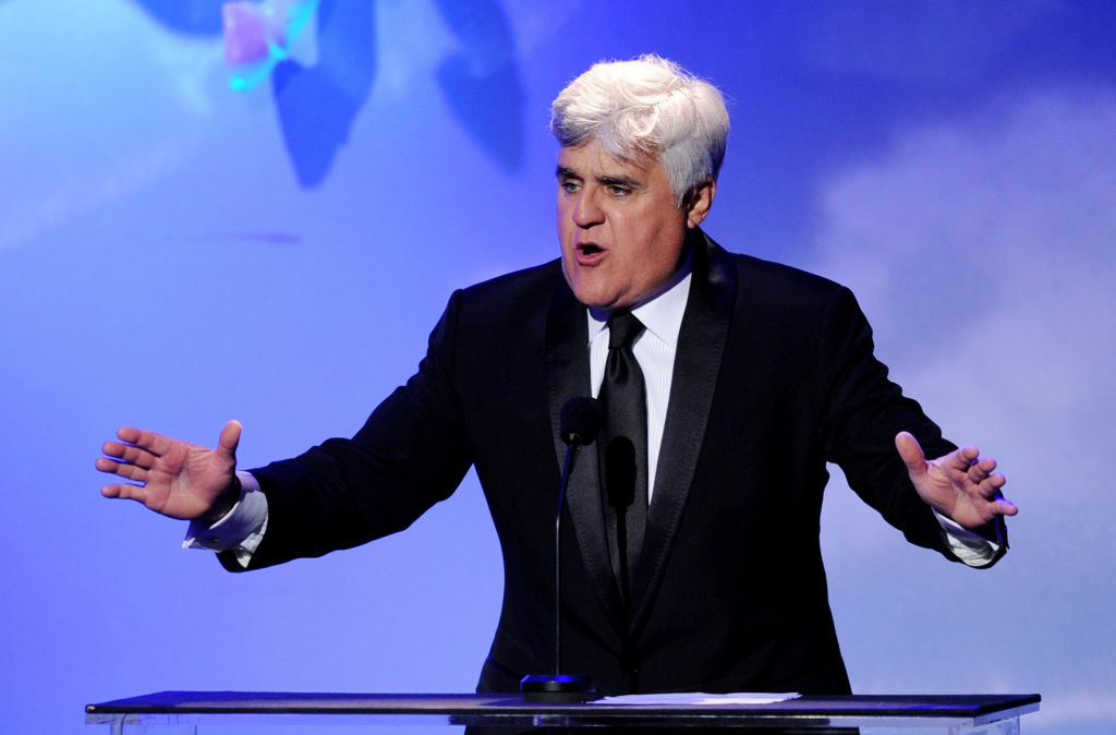 Comedian Jay Leno speaks onstage at the 32nd Anniversary Carousel of Hope Gala at the Beverly Hilton Hotel on October 23, 2010 in Beverly Hills.