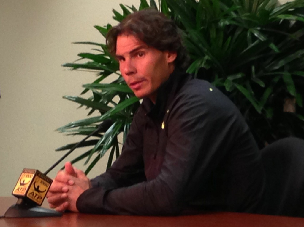 Tennis star Rafael Nadal talks about today's 4.7 earthquake south of Palm Springs during a media session at the BNP Paribas Open in Indian Wells. Photo credit: Ben Bergman/KPCC