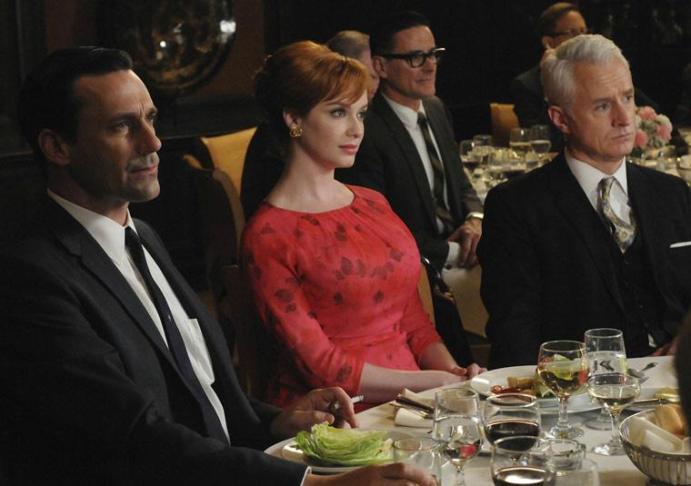 Don Draper (Jon Hamm), Joan Harris (Christina Hendricks) and Roger Sterling (John Slattery) in Episode 6.