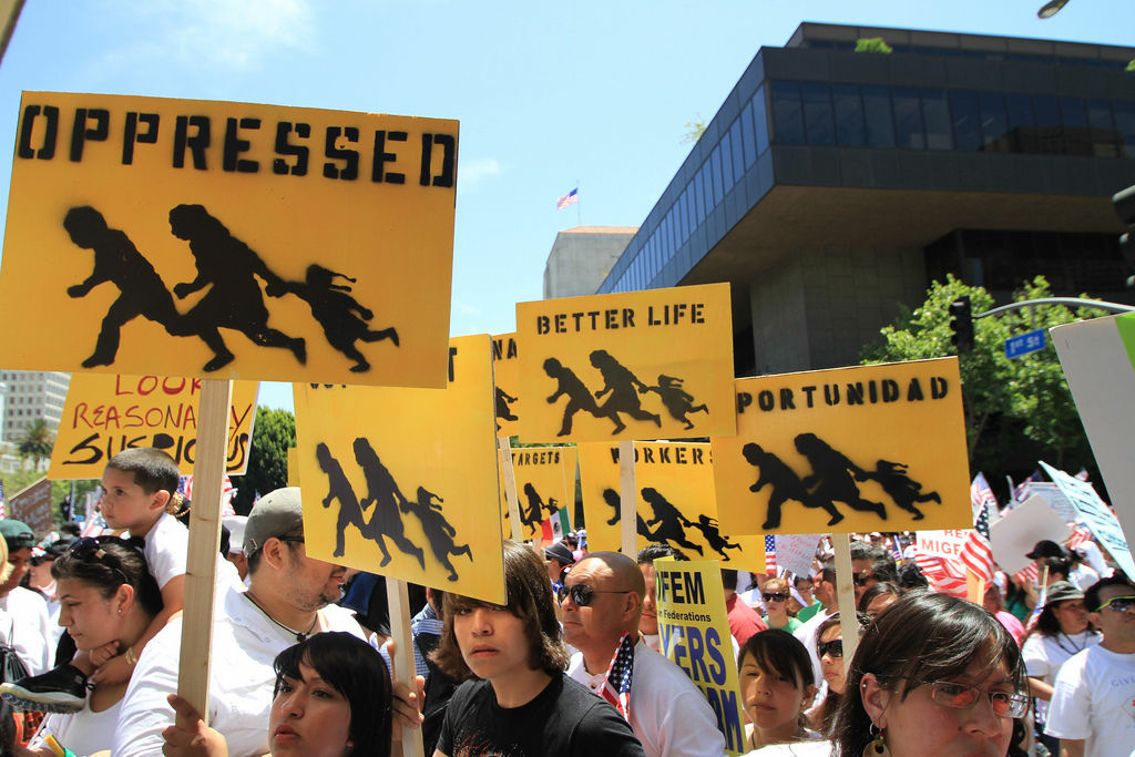 Marchers supporting immigrant rights march in downtown L.A. in May, 2010