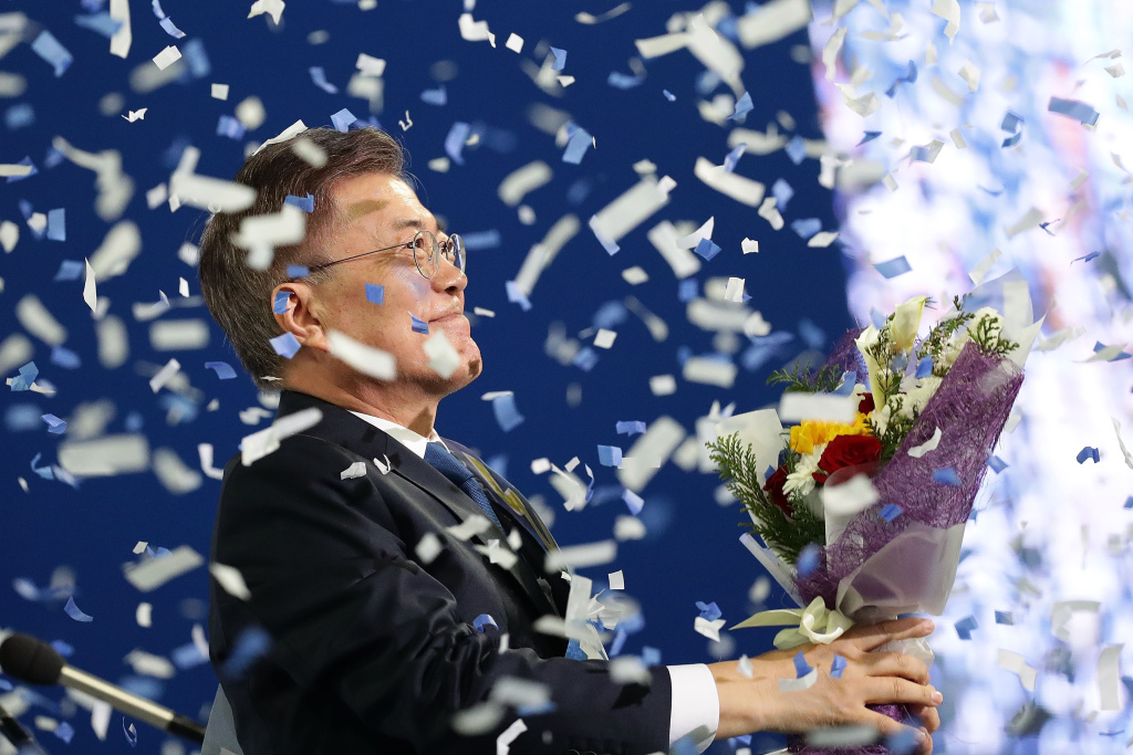 Moon Jae-In, presidential election candidate for the Democratic Party of Korea celebrates during the primary election on April 3, 2017 in Seoul, South Korea.