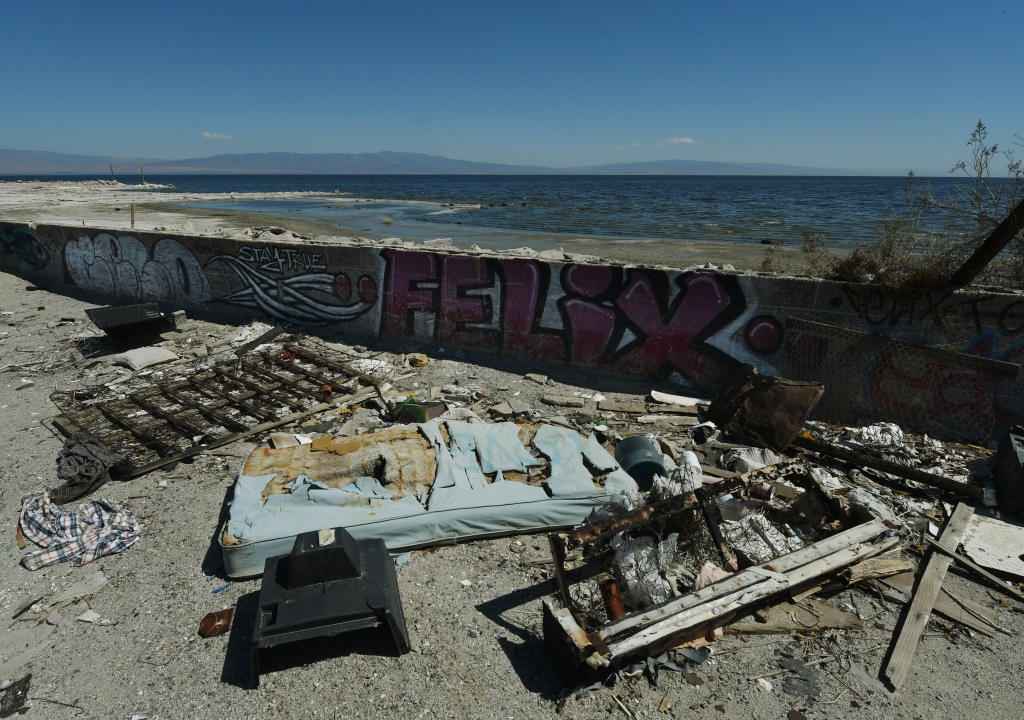 The remnants of an abandoned marina are seen beside the Salton Sea, California on March 19, 2015.