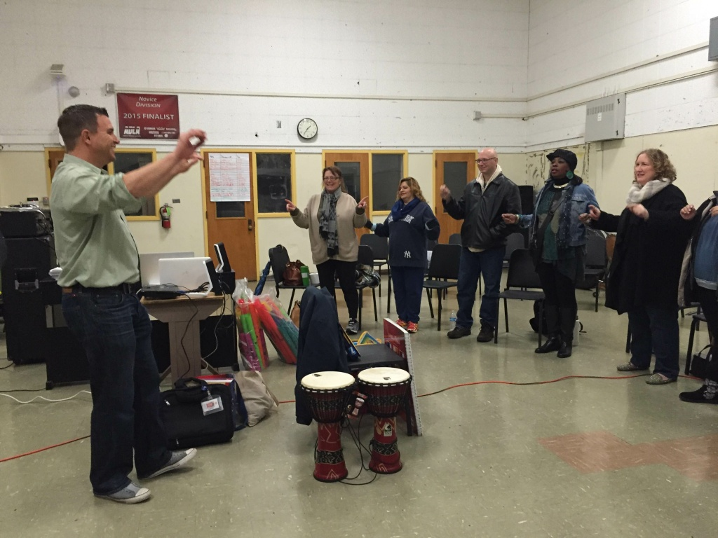 LAUSD music adviser Chris Rodriguez leads teachers through a conducting lesson during an arts integration workshop over winter break.