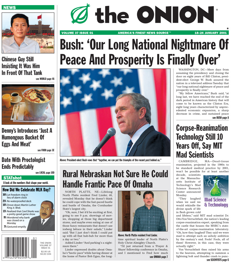 Jan. 2001 issue of the Onion.