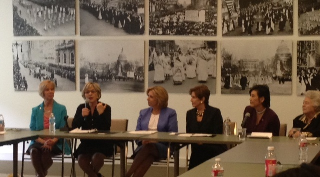 Leading female politicians came out Thursday to support the Wendy Greuel mayoral campaign. From left to right, Rep. Janice Hahn, Sen. Barbara Boxer, Wendy Greuel, Rep. Nancy Pelosi, Rep. Judy Chu and former Los Angeles City Councilwoman Roz Wyman.