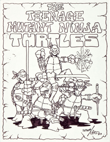The first drawing of all four Teenage Mutant Ninja Turtles by creators Peter Laird and Kevin Eastman.