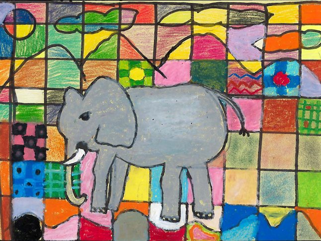 """Love Elephants"" contest finalists from the LAUSD-IFAW-Adopt the Arts program. The contest was open to students in grades K-6 in the L.A. Unified School District."
