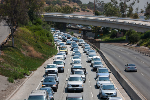 File photo of gridlocked drivers on the 110 freeway