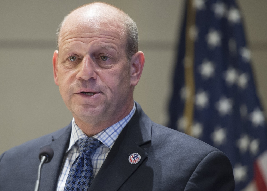 In this file photo, U.S. Citizenship and Immigration Services Director Leon Rodriguez speaks during a naturalization ceremony in Virginia in May 2015. He told the House Judiciary Committee on Thursday that his agency is reviewing the K-1 fiancé(e) visa program along with all recently approved fiancé(e) visas.