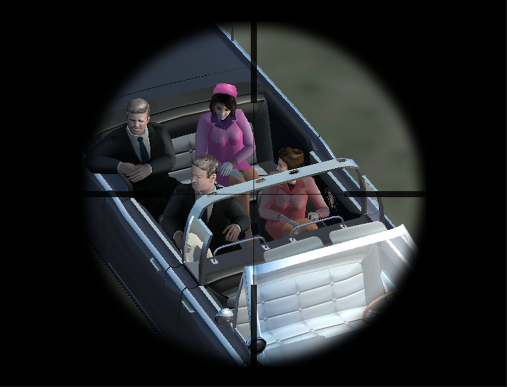 A frame of the new video game JFK Reloaded is seen in this screengrab taken November 22, 2004. The game is meant to reenact the assassination of former US President John F. Kennedy by Lee Harvey Oswald on November 22, 1963 in Dallas, Texas.