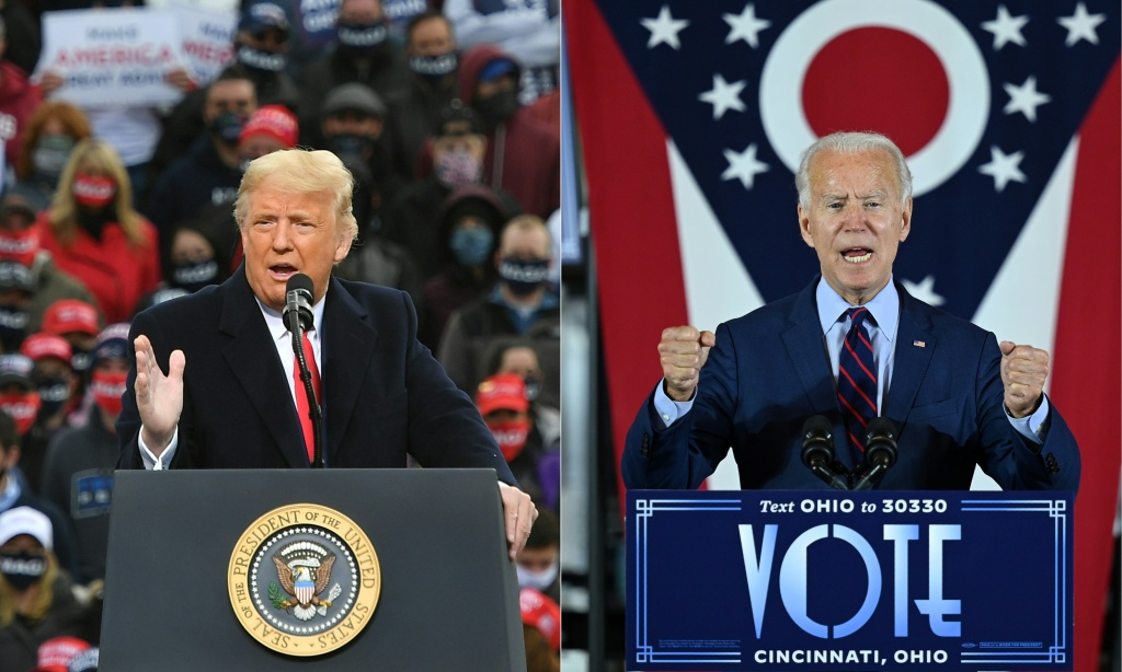 This combination of pictures shows US President Donald Trump and former Vice President Joe Biden giving speeches at their respective campaign events.
