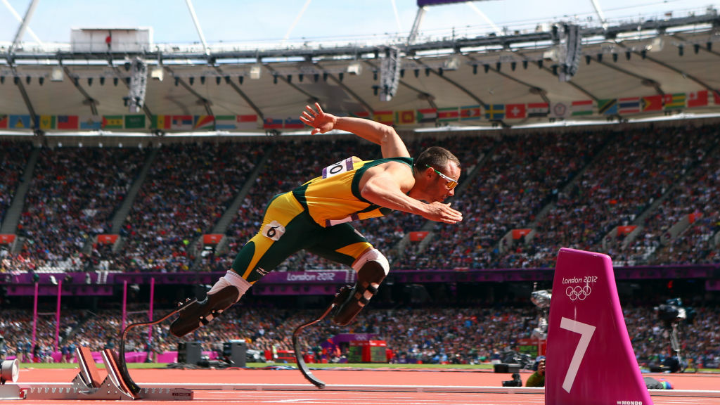Oscar Pistorius of South Africa leaving the starting blocks of the men's 400-meters race at the 2012 London Olympics.