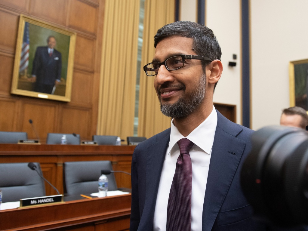 Google CEO Sundar Pichai arrives to testify during a House Judiciary Committee hearing on Capitol Hill on Tuesday.