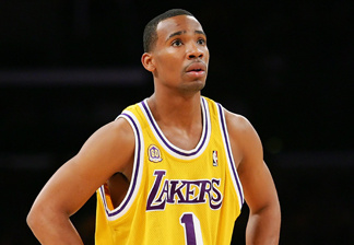 Javaris Crittenton #1 of the Los Angeles Lakers looks on during the game against the Boston Celtics at Staples Center on December 30, 2007 in Los Angeles, California.