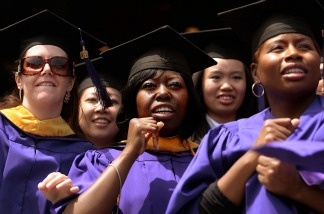 Graduate candidates in the nursing program wait to be conferred their degrees during the 177th commencement exercises for New York University (NYU) in the Bronx borough of New York City.