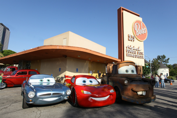 "Lightning McQueen, Mater and Finn McMissile of ""Cars 2"" Roll Into Bob's Big Boy"