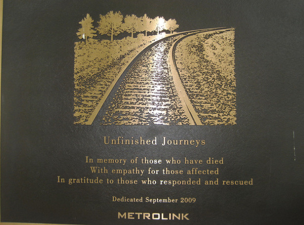 "A plaque at Los Angeles' Union Station entitled ""Unfinished Journeys"" honors the passengers and rescuers who were affected by the Sept. 12, 2008 Metrolink crash in Chatsworth."