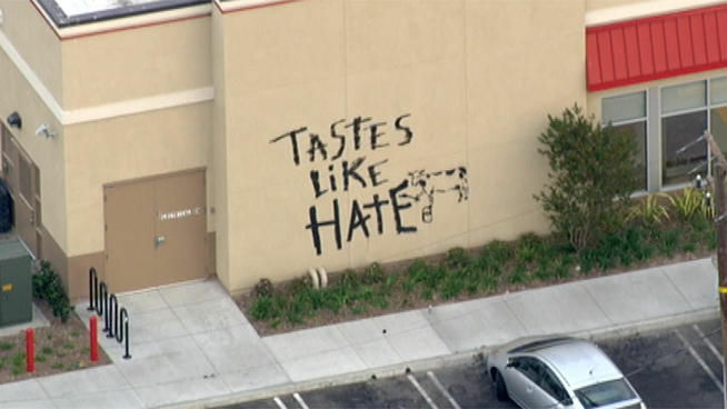 "The words ""Tastes Like Hate"" were painted on a Torrance Chick-fil-A in the same design as one of the chain's ad campaigns."
