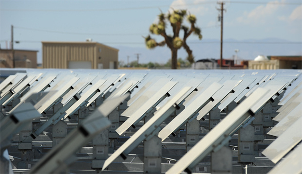 Some of the 24,000 mirrors called 'heliostats' at the eSolar Sierra SunTower power plant in Lancaster, California in the Mojave Desert approximately 70 miles (110 km) north of Los Angeles May 12, 2011.