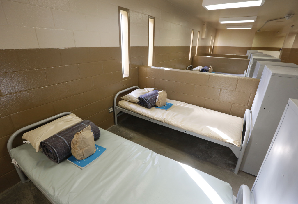 Beds are seen at one of the housing units of at the Folsom Women's Facility in Folsom, Calif.