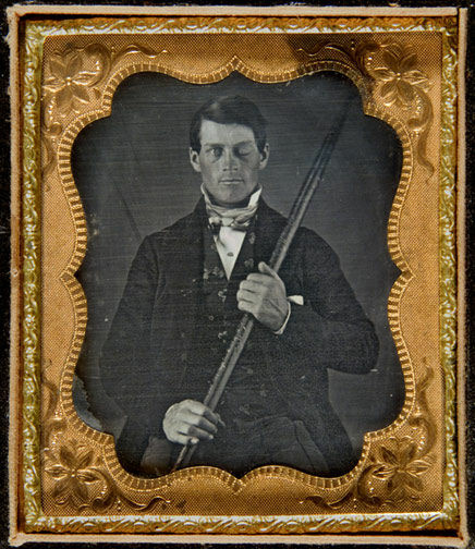 The first known photograph of Phineas Gage (identified in 2009).