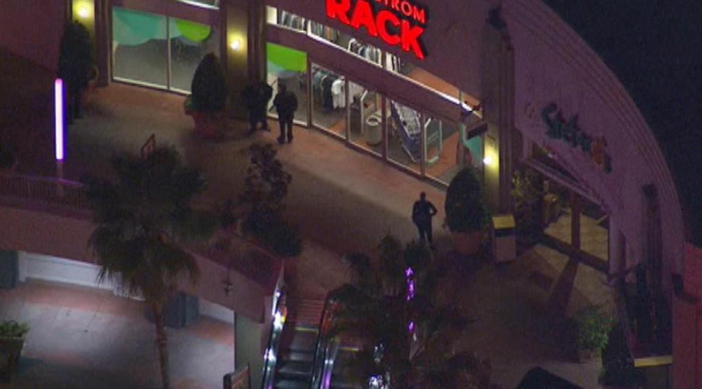 Los Angeles police officers patrol outside the Nordstrom Rack store in Westchester where a woman was being held hostage by a pair of armed men, Friday, Jan. 11, 2013.