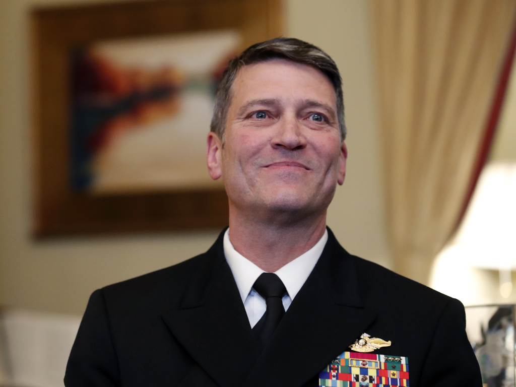 U.S. Navy Rear Adm. Ronny Jackson, M.D., before a recent meeting on Capitol Hill in Washington.