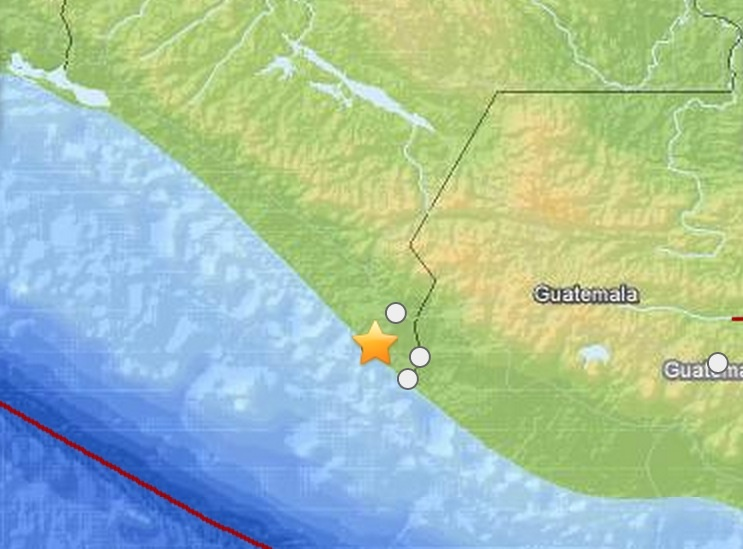 A map showing the epicenter of a 6.9 earthquake on Monday, July 7, 2014 in Mexico.