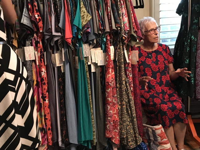 LuLaRoe founder DeAnne Stidham sits in her corner office at the company headquarters in Corona.