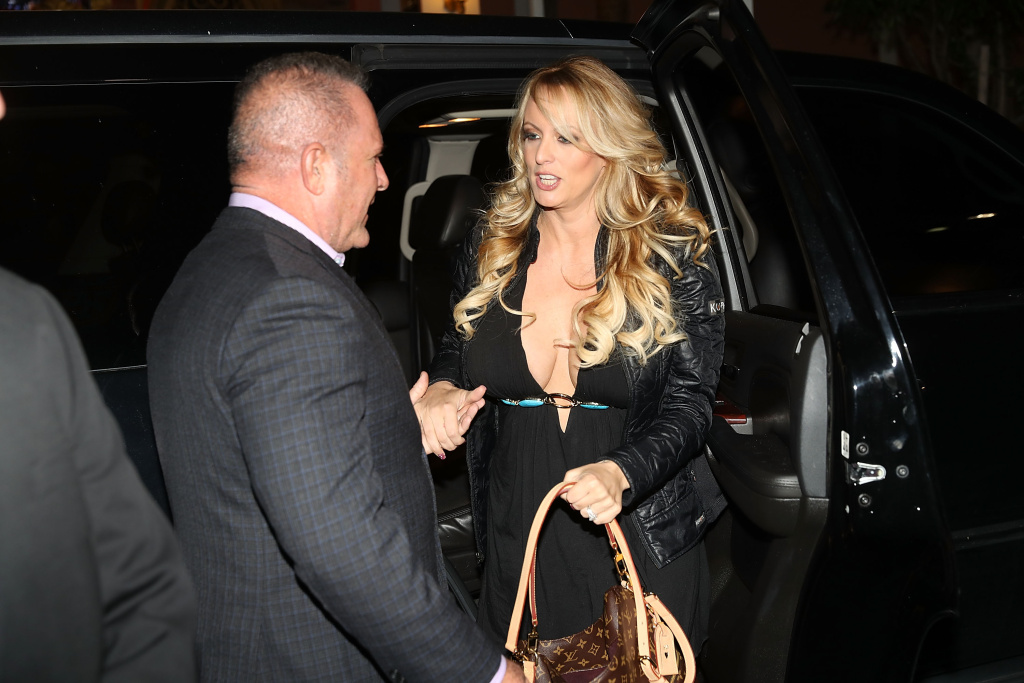 Adult film actress Stephanie Clifford, who uses the stage name Stormy Daniels, arrives to perform at the Solid Gold Fort Lauderdale strip club on March 9, 2018 in Pompano Beach, Florida.