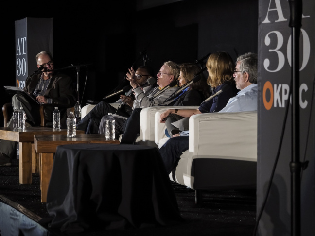 Host Larry Mantle with critics (L to R): Tim Cogshell, Henry Sheehan, Lael Lowenstein, Amy Nicholson and Charles Solomon.