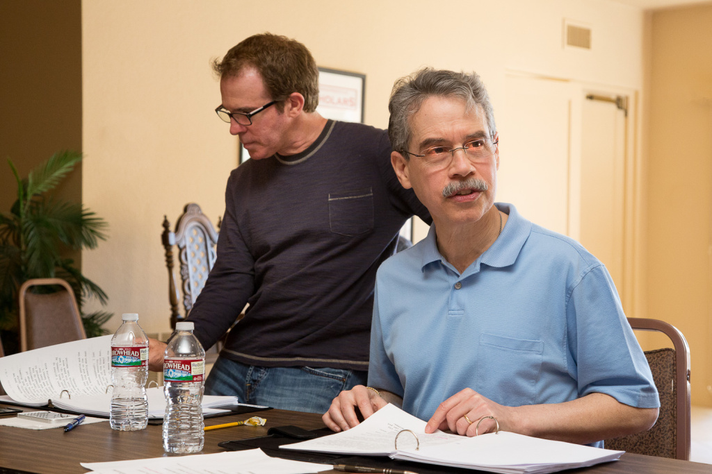 Artistic director and co-producer Michael Shaw and director Gregg Oppenheimer during rehearsal for