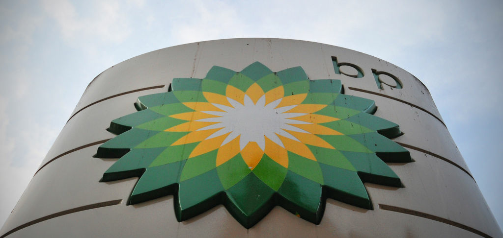 A sign for a BP filling station is pictured in central London on October 30, 2012.