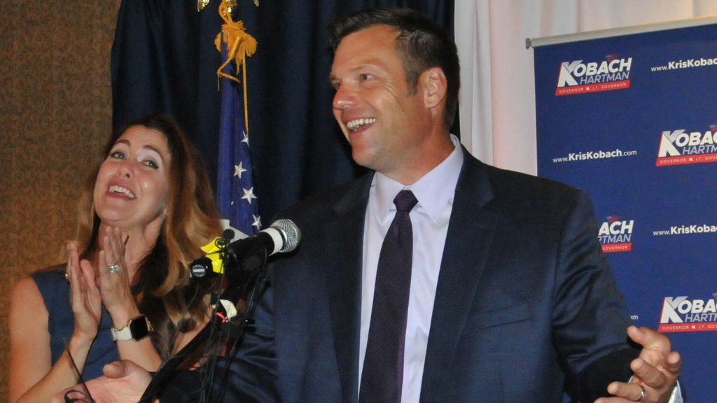 Kansas Secretary of State Kris Kobach, and his wife Heather Kobach, speak to supporters after last week's Kansas Republican gubernatorial primary.
