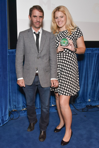"""""""The Next MacGyver"""" competition winner Jayde Lovell and her mentor, writer/producer Roberto Orci."""