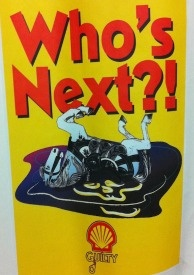 Carousel neighborhood signs picture dead carousel horses and ask, 'Who's Next?'