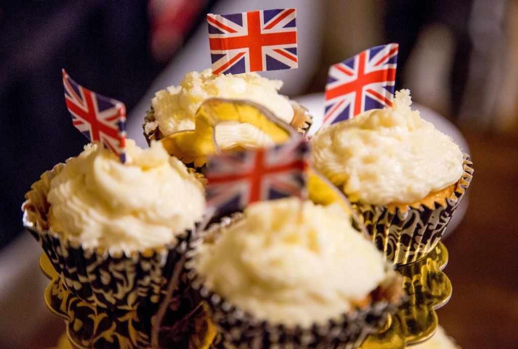 Cupcakes decorated with the Union Jack are served at a Royal Wedding watching at the home of blogger Veronica Hendrix in Los Angeles, California, on May 19, 2018.