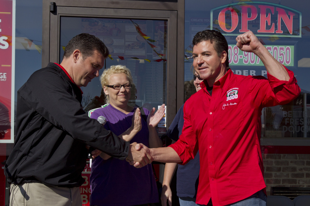 Papa John's Founder, Chairman, and CEO John Schnatter (right) and President  of the Papa John's Chicago Marketing Co-op Sid Ruckriegel (left), in Burbank, IL on Monday, October 24, 2011.