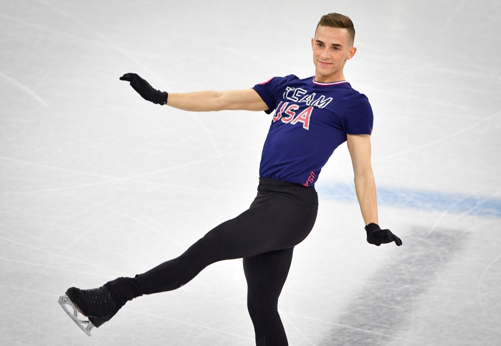 U.S. skater Adam Rippon practices at Gangneung Ice Arena ahead of the team event of the men's figure skating before the Pyeongchang 2018 Winter Olympic Games on February 7, 2018.